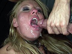 Well, as this blond haired filth with smooth rounded ass is fond of bondage, she gets tied up with ropes. Bitchie harlot with smeared makeup has no other way but to please a dominant stud by giving him a stout blowjob for cum.