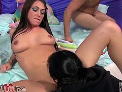Four horny babes with natural tits and shaved pussy found a lucky guy who fucks them missionary until he cums with his big cock.