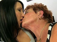Obese disgusting short haired oldie takes off brunette's jeans and licks her wet juicy pussy passionately right on the couch. Check out these too much different lesbians in 21 Sextury xxx clip to jack off a bit.