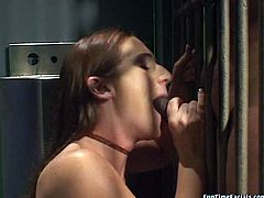 Long haired brunette wench Gen Pandova is craving for cum in her mouth. So she greedily sucks meaty black stick deepthroat.