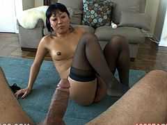 Japanese girl in lingerie and stockings pleases her pussy with fingers and the vibrator. Later on she gives a blowjob and footjob in POV video.