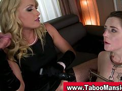 This hot blonde dominatrix forces her brunette slave to deepthroat a guy's cock and to lick her pussy. Then, she fucks her slave with a dildo. Both suck on the dildo.