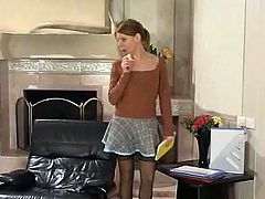 russian girl fuck and cum on her stockings