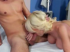 Turned on handsome stud Daniel Hunter with rock hard cock licks bootylicious blonde doctor Riley Evans with huge juicy knockers and fucks her hard in doggy style position to loud orgasm.