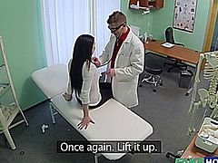 Hot European vixen visits the clinic for a check up. The doctor checks her heart  rate and  attempts to kiss her. The pervy doctor fucks her in doggystyle and ramming his cock hardly. Finally the doctor can no longer keep up and  explodes his cum in the pussy lips.
