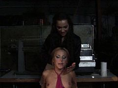 Blonde nymph has misbehaved and needs to be punished hard. So she gets attached to the wooden chair and gets her tits whipped gently in wild BDSM scene.