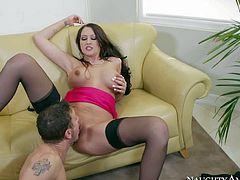 Long haired brunette Alexis Grace with big natural tits and long whorish nails in stockings and high heels gets licked by Mr. Pete and gets his entire cock up wet minge
