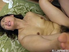 This juicy and petite Japanese siren Hisae Yabe wants that huge cock of her man! She takes it in her mouth and then he gives some pounding in her muff!