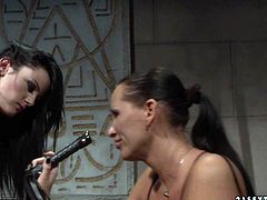 Submissive brunette amateur gets suspended by a rapacious domina before she bends down to get her juicy ass slapped with pressure in BDSM-involved sex video by 21 Sextury.