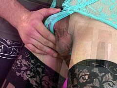 Venus is gorgeous! Dark hair, a pretty face and a hard cock that demands attention. She taunts this guy and then, gets her dick rubbed, and sucked by him. After he warmed her up, the beautiful brunette shemale kneels and sucks his penis like a pro! Wanna see some more from her?