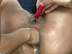 Foxy blond student give face sitting to horny grey-haired daddy while tongue fucking soaking shaved pussy of voracious brunette mature in FFM sex video by 21 Sextury.