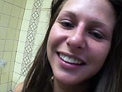 Busty brunette babe Rachel Roxx takes shower in front of camera