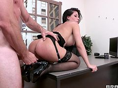 Busty brunette secretary likes to please her boss in any way including rough sex