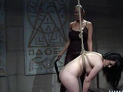 Curvy brunette doxy gets suspended bandaged by pitiless horn made mistress before she forces her bend down to be able to slam her huge ass with a lash in BDSM-involved sex video by 21 Sextury.