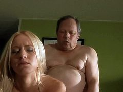 Check out this super hot blonde babe getting her tight pussy stuffed by an old pervert. She takes it deep inside and moans loud! She enjoys every inch of his cock!