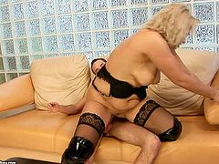 Dude, you're more than welcome to enjoy this steamy 21 Sextury xxx clip. Horny bootylicious blondie in black stockings gets her wet cunt polished properly and rides a stiff dick passionately. Her big droopy tits bounce heavily.