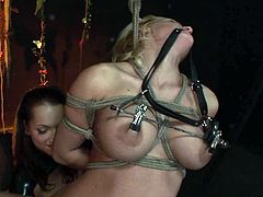 Amazing slender and pale blondie is fixed with ropes. Kinky chick with natural tits stands and moans in the dark room. The only way to shut her up is to plug a huge black dildo right in her small mouth.
