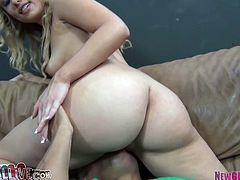 Blonde Charlee Monroe with shaved pussy and natural tits licked in pussy by Porno Dan then she returns the favor and sucks his hard cock for free.