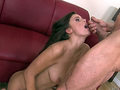 She's a wild one, and damn hot too! Whitney loves to fuck hard and deep so Peter stretches her pussy sideways with his big and hard penis. She moans and rubs her clit in the same time, craving for cum! Then, Whitney kneels and he quenches her thirst with a big cumload on her pretty face! What a slut!