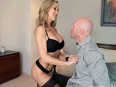 Cougar blonde stunner Brandi Love is looking hell seductive in red romantic dress. She seduces Johnny Sins stripping teasingly in front of him. Wearing tempting black lingerie blonde MILF Brandi Love takes hard dong of Johnny Sins in her mouth. She gives him unforgettable blowjob.