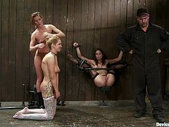 Two naughty bitches are getting dominated by another girl in this femdom bondage BDSM video packed with hot kinky lesbian action.
