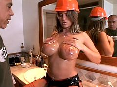 Hot Trina Michaels gives a titjob and sucks a dick