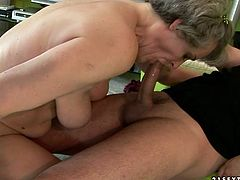 This old woman wants to get really wild with this stud's cock. She takes it up her loose fanny and rides it passionately in cowgirl position. Then she gets into sideways position to let her lover control the penetration.