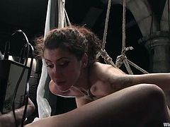 Princess Donna Dolore binds the insatiable Sandra Romain and tortures her in many ways. She spanks her ass ardently and then pokes her foot into her cunt.