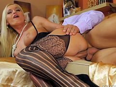 Blonde in sexy stockings Kathia Nobili feels amazing with a big dick up her shaved ass