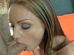 One of a kind brunette beauty Sophie Lynx with natural tits and beautiful blue eyes in fishnet gloves stuffs ass with toy and gives amazing blowjob to boyfriend in point of view.