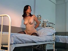 Welcome to enjoy hot 21 Sextury femdom sex clip. Kinky bootylicious blondie wears red sexy nurse dress. This bitch fixes slim brunette in stockings with chains right on the bunk bed to treat her pussy with tits in BDSM way.