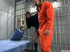 The sexy police officer Gia Jordan is the one having rough hardcore sex in a domination session where an inmate gives her an anal lesson she'll enjoy.