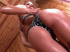 Solo chick Abbie Cat oiled up in bra and panties