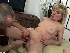 Horn made blond mature gets her shabby hairy vagina fingered and rubbed with different sex toys by voracious perverse dad in sultry sex scene by 21 Sextury.