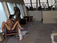 This slender honey Rihanna Samual is so irresistible, when she is sexcited. Babe seduces her captain and gets his thick black monster cock deep in her twat!
