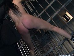This dude knows how to make her slave moan with pain. He spanks her ass hard until it turns scarlet red. Then he licks her succulent snatch in amazing BDSM scene.