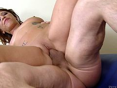 Sweet, young Halie is a natural beauty. She gets fucked from behind and then rides him, taking every inch into her hot, wet pussy. Soon she's on her knees to get her great big knockers covered in Peter North's signature huge load of cock juice. She's truly happy now that her mounds are glazed.