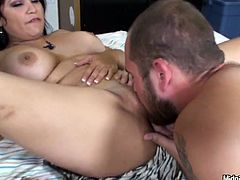 Luscious MILF with big boobs, ample rump and beautiful face is fucking passionately in explicit threesome. She gets rammed deep in her cunt doggy style while sucking cock deepthroat.