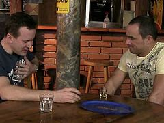 These two guys drink and chat for a while. They are alone in a bar and show each other body parts before they get to dirtier things such as cock-sucking and ass fucking.