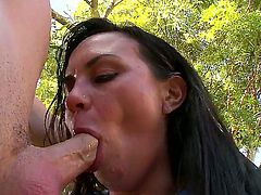 Dark haired lusty nymphos Linda Gapes and Mariah Milano with big firm tits and great hunger for cock get fucked hard in provocative positions in outdoor foursome in the park.