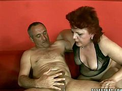 Slutty fatso in stockings is mad about riding and sucking a stiff dick. Spoiled bitch with saggy tits and huge cellulitis ass goes nuts of deep and tough cock penetration into her wet mature cunt.