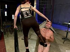 Madeline knows, how to put a man where's his place. She's teaching John something about his position and trains him, to be a better sex slave. Making sure John understand a few tricks, Madeline does her ways with him and tortures his dick, before putting him to lick her sweet pussy.