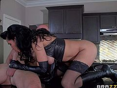 Isis Loves black dominatrix outfit was a surprise for her husband. Smoking hot dark haired sexy wife in long gloves and boots sucks her hubbys dick and then rides on top of cock. She bounces on cock femdom style!