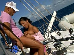 Brunette babe Lucy Belle is having a good time with her BF on a yacht. She favours the man with a terrific blowjob and then they have crazy anal sex.