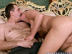 Appetizing brunette girl with fresh sexy body seduces mature man for sex as she has always been dreaming of old young fuck fest. So watch this cutie sucking cock deepthroat.