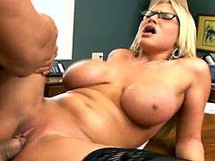 Slutty blonde Alanah fuck in the classroom