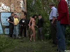 Horny Bijou walks naked in the downtown. Later on she gets fucked rough by some guys in some quiet place.