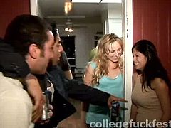 Drunk blonde college girl rubs her clit over his boner in cowgirl position without taking off her clothes. She kiss her sex partner and they are going to have sex in public.