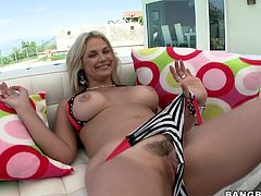 Sexy blonde milf Sarah Vandella is having fun with some guy outdoors. She pleases the dude with a deepthroat blowjob and then they fuck in the reverse cowgirl and side-by-side positions.