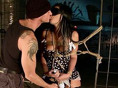 Horny bondage master dominates his slave viciously stimulating her slave's juicy pussy with vibrator. Press play and get ready for the hottest BDSM sex video ever!